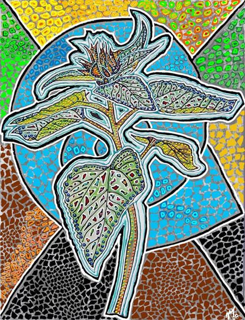 Art: Sunflower Bud Digital Mosaic by Artist Joan Hall Johnston