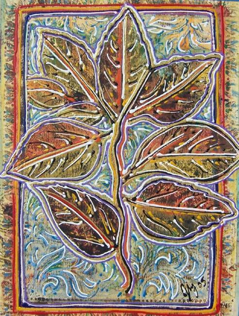 Art: Hibiscus Leaf by Artist Joan Hall Johnston