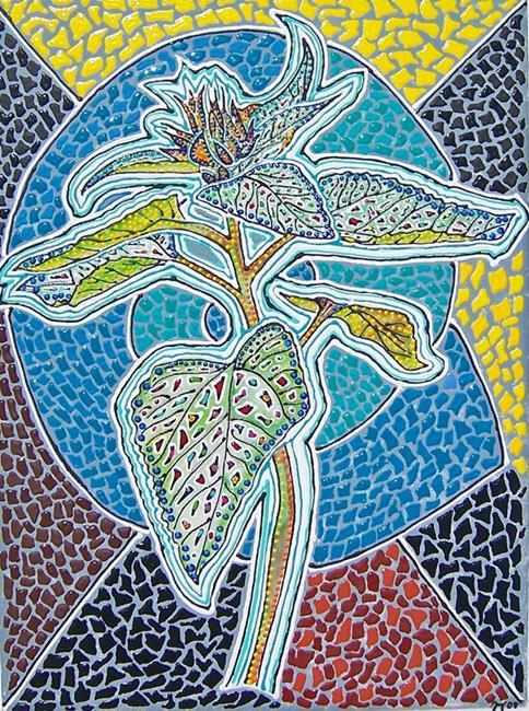 Art: Sunflower bud mosaic by Artist Joan Hall Johnston