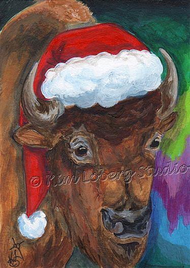 Art: Buffalo Santa Watching the Northern Lights - SOLD by Artist Kim Loberg