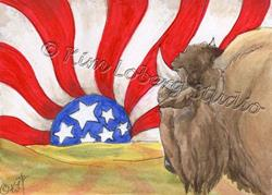 Art: Buffalo Watching An American Sunset by Artist Kim Loberg