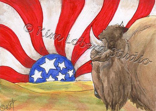 Art: Buffalo Watching An American Sunset - SOLD by Artist Kim Loberg