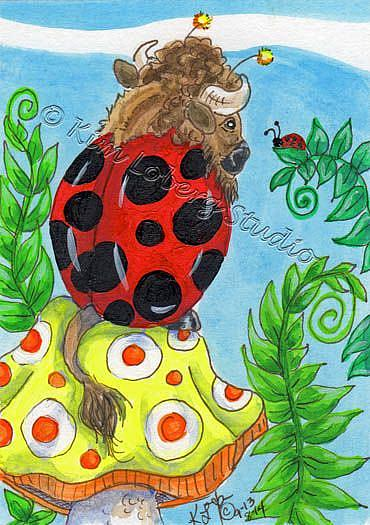 Art: Lady Bug Buffalo & Ladybug Chat by Artist Kim Loberg