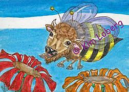 Art: Buffalo Bumble Bee - SOLD by Artist Kim Loberg
