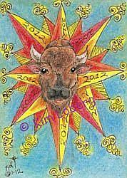 Art: 2012 Solar Flare Sun Buffalo - SOLD by Artist Kim Loberg