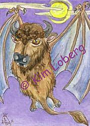 Art: Vampire Buffalo Bat - SOLD by Artist Kim Loberg