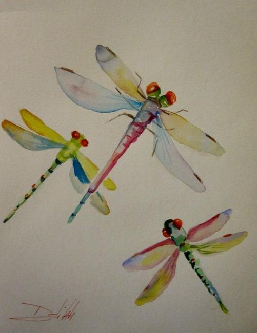 Art: Red Eyed Dragonflies by Artist Delilah Smith