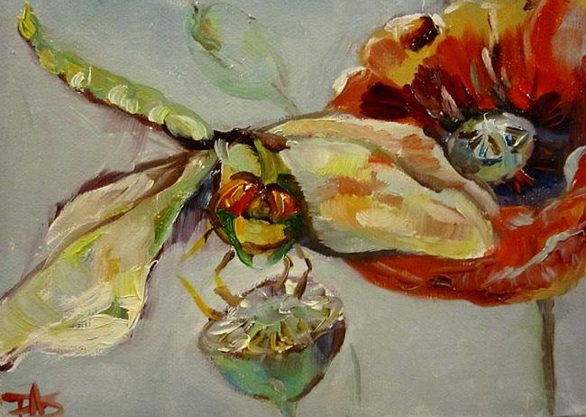 Art: Dragonfly and Poppy by Artist Delilah Smith
