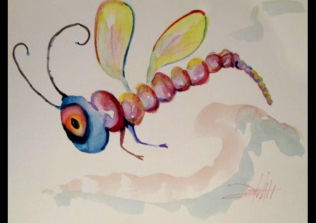 Art: Whimsical Dragonfly by Artist Delilah Smith