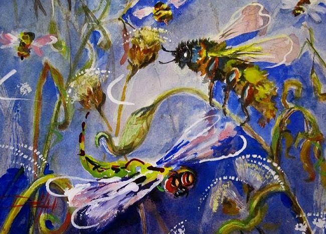 Art: Bee and Dragonfly by Artist Delilah Smith
