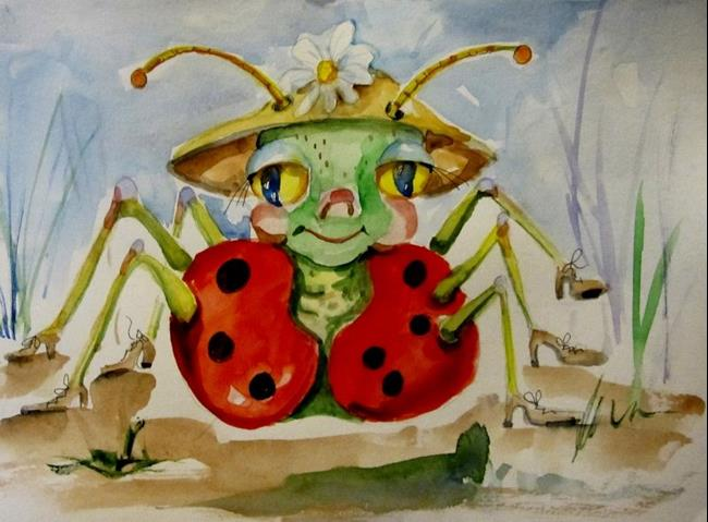Art: Lady Bug in Hat-SOLD by Artist Delilah Smith