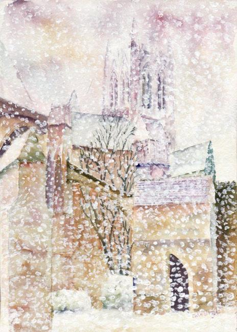 Art: Heavy snowfall, Lincoln Cathedral refectory by Artist John Wright