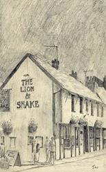 Art: Lion and Snake pub, Lincoln by Artist John Wright