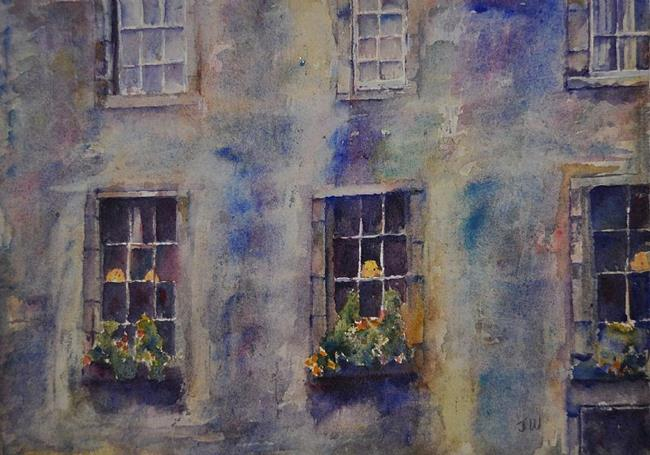 Art: Edinburgh Tenement Windows by Artist John Wright