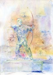 Art: Statue of Robin Hood, Nottingham Castle by Artist John Wright