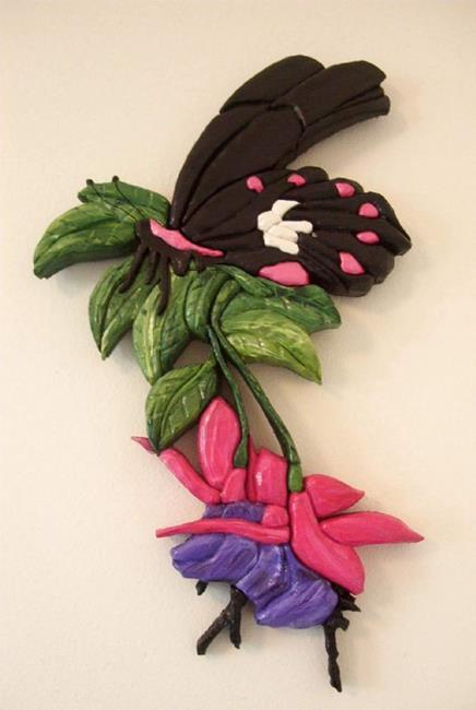 Art: Butterfly/Fuschia Painted Intarsia Art by Artist Gina Stern
