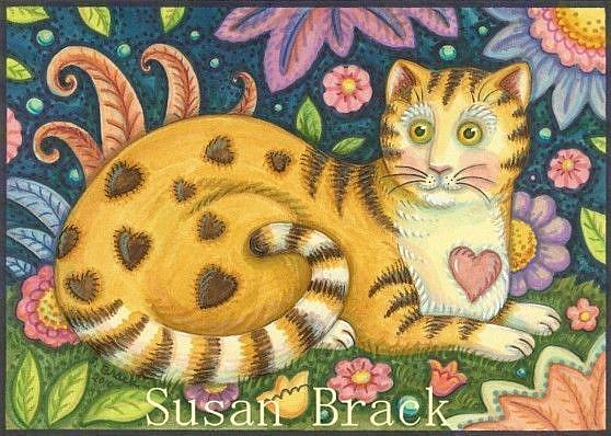 Art: Folk Art Series : HEARTS N' STRIPES TABBY    Note Card by Artist Susan Brack