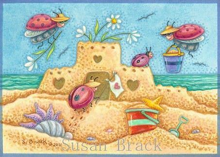 Art: Ladybug : LADYBUGS BY THE SEA   Note Card by Artist Susan Brack