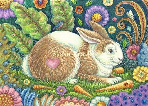 Art: Folk Art Series: MIDSUMMER HARE    Note Card by Artist Susan Brack