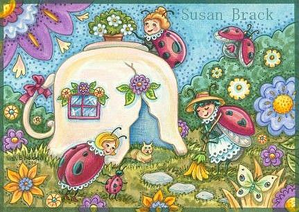 Art: Ladybug Series : TEACUP COTTAGE   Note Card by Artist Susan Brack
