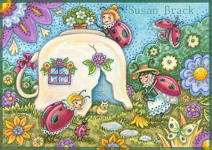 Art: Ladybug Series : TEACUP COTTAGE   Note Card by Artist Susan Brack