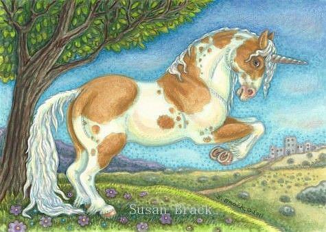 Art: Unicorn Series : UNICORN STALLION     Blank Note Card by Artist Susan Brack