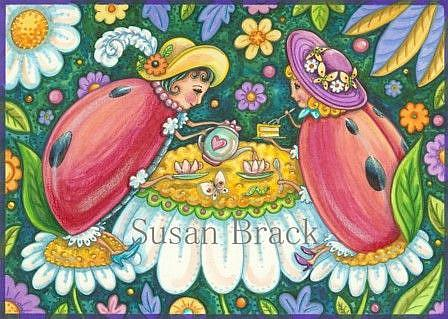 Art: Ladybug Series : TEA IN THE GARDEN    Note Card by Artist Susan Brack