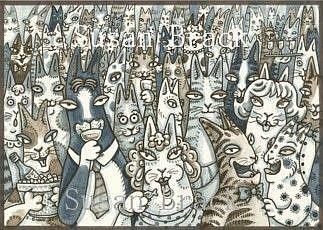 Art: Hiss N' Fitz Series -    Inside  LIFE'S A PARTY  Card by Artist Susan Brack