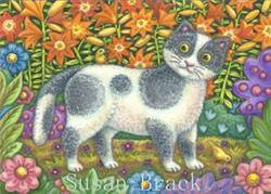 Art: Folk Art Series - FUZZY WUZZY   Blank Note Card by Artist Susan Brack