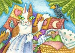 Art: Hiss N' Fitz Series - LAUNDRY DAY ENTOURAGE  Blank Note Card by Artist Susan Brack