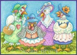 Art: HEN PARTY  Blank Note Card by Artist Susan Brack