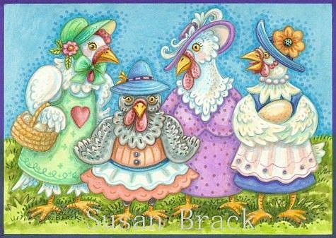 Art: HEN PARTY  Blank Note Card by Artist Susan Brack