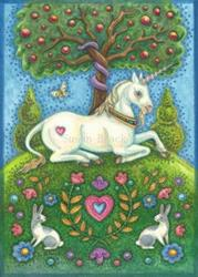 Art: Unicorn Series : UNICORN IN THE GARDEN OF EDEN  Blank Note Card by Artist Susan Brack