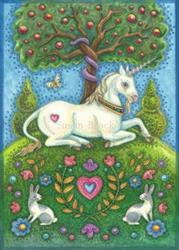 Art: Unicorn Series : UNICORN IN THE GARDEN OF EDEN  Blank Note Card by Artist Susan Brack