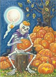 Art: Halloween : IT'S TIME TO CARVE YOUR PUMPKIN  Happy Halloween!   Card by Artist Susan Brack