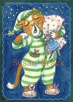 Art: SLEEPY HEAD KITTEN by Artist Susan Brack