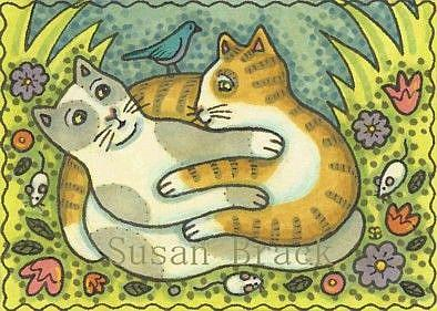 Art: BLUEBIRD AND FOLK ART FELINES by Artist Susan Brack