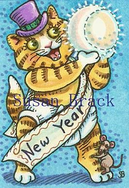 Art: NEW YEAR'S KITTEN by Artist Susan Brack