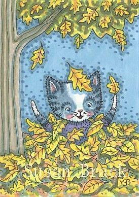 Art: FALLING LEAVES MAKE HAPPY KITTENS by Artist Susan Brack