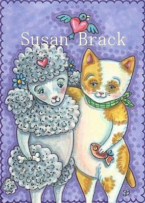 Art: PUPPY LUV WITH KITTEN DEVOTION by Artist Susan Brack