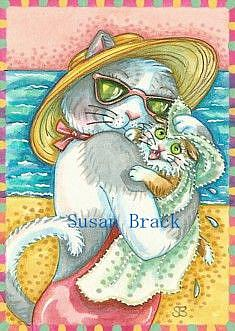 Art: DAY AT THE BEACH SERIES  FIRST SWIM  by Artist Susan Brack