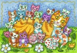 Art: PURRRFECT FAMILIES COME IN ALL SIZES by Artist Susan Brack