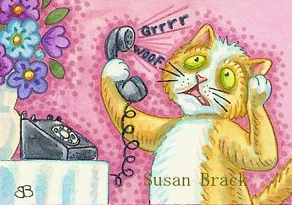 Art: WHEN MOUSE MAKES A PRANK CALL by Artist Susan Brack