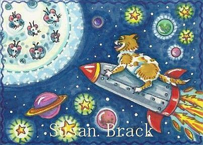 Art: THERE'S MICE IN THE MOON by Artist Susan Brack
