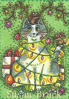 Art: RUDOLPH THE RED NOSED KITTY by Artist Susan Brack