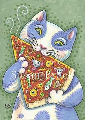 Art: CAT PIZZA WITH ALL THE TOPPINGS by Artist Susan Brack