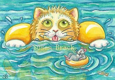 Art: Day At The Beach Series - WET WHISKERS by Artist Susan Brack