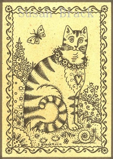 Art: PRIMITIVE COUNTRY CAT by Artist Susan Brack