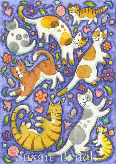 Art: CAT CAPERS by Artist Susan Brack