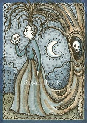 Art: Goth MOURNING ART WOMAN AND SKULL by Artist Susan Brack